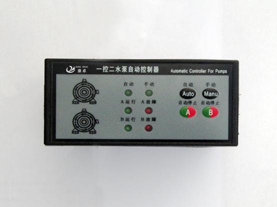 概 述 本自动控制器集水泵(风机)电机二次控制回路于一体,完全替代控制柜内部复杂的二次接线,该自动控制器只需与箱柜内一次元件相联,就可以实现全部的手动、自动控制功能,而且性能更加可靠。该型号为一控二形式,允许同时连接两台泵(风机)工作。一用一备自动轮换,并实现故障自投,设备发生故障时, 控制器会自动停止故障设备工作并发出相应的报警信号,同时启动另一台设备继续工作。从面板图形和指示灯即可以清楚看到设备的工作和故障状态。 通过安装液位开关(或者电极传感器)可以实现设备的自动控制。控制器软件具有人工智能判断功
