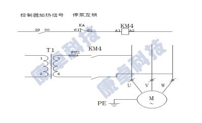 继电器动作,控制交流接触器km4闭合